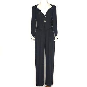 VTG JR Nites 90s Black Jumpsuit Blazer Set H0858